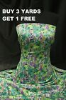 Satin Print Green Purple Flowers Floral dress-making Crafts fabric material