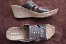 COLORADO RIFI Brown Leather SANDALS Size 7.5 NEW rrp $99.99 STUD Trim Wedge Heel