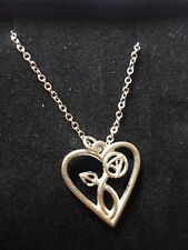 """Mackintosh Heart Pewter On 24"""" Silver Plated Curb Chain Necklace cw23"""