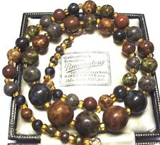 VINTAGE Antique Jewellery Scottish Rainbow Venetian Agate GLASS BEAD NECKLACE