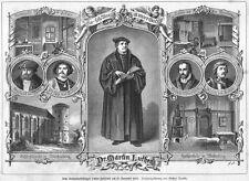 Martin Luther, riformatore, Giubileo foglio, originale-chiave in legno di 1883