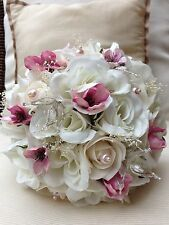 IVORY ROSES PINK SPRING BLOSSOM PEARLS CRYSTALS BRIDES WEDDING POSY BOUQUET