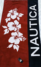 NAUTICA BEACH TOWEL BLUE RED FLOWERS LOGO SAILING NWT