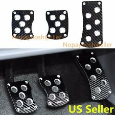 SPORT RACING BLACK CARBON FIBER PEDAL PAD COVER KIT MANUAL TRANSMISSION MT 3PC