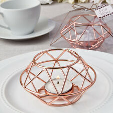 25 - Geometric Design Rose Gold Metal Candle Holder - Wedding Shower Favor
