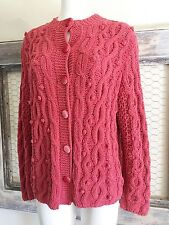 J Jill  Cable Knit Cardigan Sweater M Pink Thick Soft Warm Yarn Women's