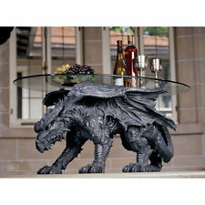 large fantasy Dragon Side coffee Table with Glass Furniture Home Decor