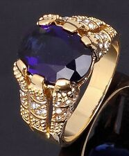 Fashion Size 8 Luxury Blue Topaz 18K Gold Filled Rare Anniversary Rings For Mens