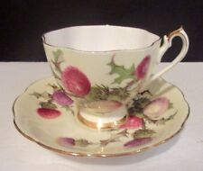 Vtg Queen Anne PURPLE SCOTTISH THISTLE on YELLOW Tea Cup and Saucer