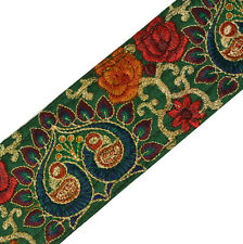 Antique Vintage Saree Border Indian Craft Trim Embroidered Peacock Green Ribbon