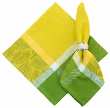"100% Cotton Yellow & Green Jacquard 22""x22"" Napkins, Set of 6 - Leaves Spring"