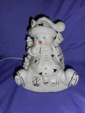 ADORABLE ICE SKATING GOLD & WHITE PORCELAIN SNOWMAN LIGHTED CHRISTMAS DECOR