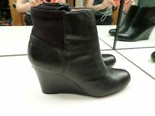 MICHAEL MICHAEL KORS BROMLEY BLACK LEATHER WEDGE BOOTS - SIZE 7 MED - NICE USED