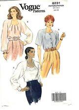 Vogue Sewing Pattern Women's BLOUSE TOP 8231 Size 6-8-10 UNCUT