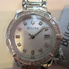 BULOVA WOMEN'S WATCH QUARTZ DIAMOND ALL S/S WHITE ORIGINAL JAPAN 98R105
