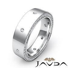 Round Diamond Men Eternity Wedding Band Platinum Dome Bezel Pave Set Ring 0.75Ct