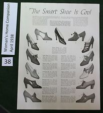 """Cool"" Shoes from 1938 Ad, 1930's Fashion, Ladies Vintage Shoe Sketch"
