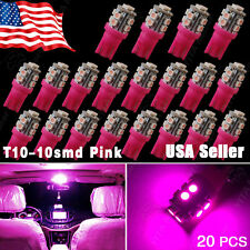 20X Pink/Purple T10 Wedge 360°10SMD LED Side Interior Light W5W 2825 158 192 194