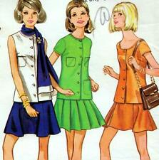 "Vintage 60s Mod TOP & SKIRT Sewing Pattern Bust 32.5"" Size 8 RETRO Skater SUIT"