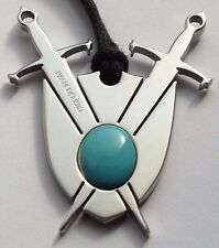 STAINLESS STEEL BEAUTIFUL TURQUOISE SHIELD OF POWER DESIGNER PENDANT IVAN DO ZMI