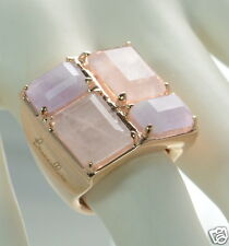 Bronzo Italia Square Cocktail Ring with 4 Rose Quartz Stones Size - 10