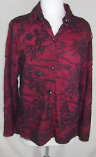 Coldwater Creek Blouse Top Medium Red Sheer Net Overlay Sparkly