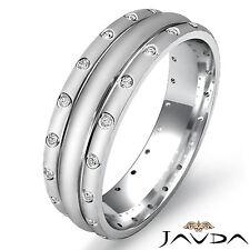 Dome Matt Polish Eternity Wedding Diamond Band Mens Ring 18k White Gold 0.17Ct