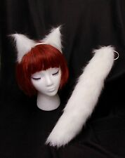 White Arctic Fox Wolf Cat Dog Ears-Tail Set, Great Cosplay Animal High Quality