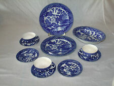 11piece ANTIQUE/VINTAGE Flow Blue HAND PAINTED Dinnerware Set; MADE IN JAPAN