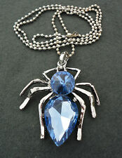 NEW Large Blue Crystal Rhinestone Silver Spider Animal Insect Pendant Necklace