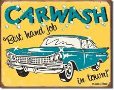 "16"" X 12.5"" TIN SIGN CAR WASH BEST HAND JOB IN TOWN METAL SIGN"