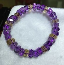Natural Purple Yellow Ametrine Crystal Round Beads Bracelet AAA