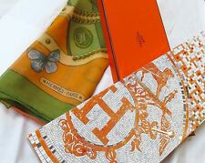 "Hermes Scarf Shawl Mousseline ""Farandole des Champs"" 140cm - 100% Authentic Box"