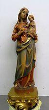 Alte colorierte handgeschnitzte Figur Sculptur Madonnenfigur Konsole Grödnertal
