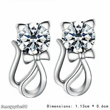New Coming Cute Plated silver  Hypoallergenic Cat Diamond Silver Earrings B09