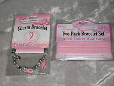 3 Pink Ribbon Breast Cancer Awareness Wrist Band Hope Strength Rubber Charm NEW!