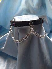 Handmade leather & anello della catena collare con cristalli di qualsiasi colore.. BONDAGE FETISH