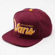 Vans Off The Wall Verdugo Burgundy Gold Adjustable Snapback Cap Hat NWT OSFA