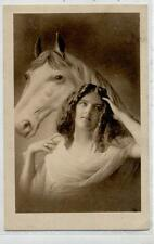 Ragazza con Cavallo Romantic Horse Lady Real Photo PC Vera Foto Viaggiata 1916