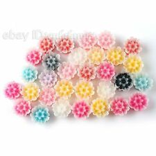 80x Hot Sale Assorted Flowers Flatback Stick-on Charms Beads Embellishments LC
