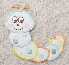 Iron On Embroidered Applique Patch Childrens Pastel Puffy Baby Caterpillar