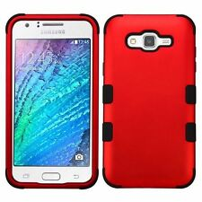 For Samsung Galaxy J7(2015) Red Black Tuff Hard Silicone Hybrid Case Cover