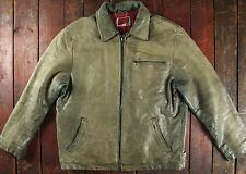 VTG LEVI'S BROWN LEATHER CAFE RACER ZIP MOTORCYCLE JACKET TRUCKER 42 LARGE