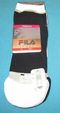 FILA~Shoe 5-9~Women's 2 Pr Black/White/Gray Aerator Mesh Low Cut Socks 3278DF