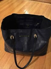 Diane Von Furstenberg Blue Croc Print Leather Tote Purse