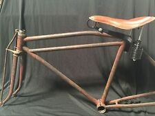Reproduction Real Leather Prewar tank motor bike long spring saddle seat