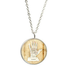 Silver P Palmistry Hand Pendant Necklace palm fortune reading predict chirology
