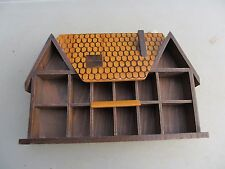 Wooden Wall Display Rack Thimble / Collectibles Holder House Design Retro