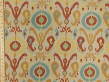 Woven  Geometric Ikat Medallion Multicolor aqua Upholstery Fabric