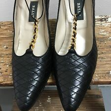 VTG BALLY BLACK QUILTED LEATHER T-STRAP HIGH HEEL STILETTO PUMPS ITALY 9N